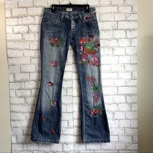 ANTIK DENIM Distressed Peacock Embroidered Jeans